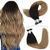 YoungSee I Tip Hair Extensions Human Hair 18inch Fusion Hair Extensions I Tip Remy Human Hair Balayage Darkest Brown to #6 with #27 Blonde Pre Bonded Keratin Hair Extensions 1g/s 50strands