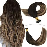 YoungSee I Tip Keratin Hair Extensions Human Hair 20inch Pre Bonded Hair Extensions Black to Dark Brown with Ash Blonde Balayage Human Hair Itip Extensions Fusion Hair Extensions 1g/s 50gram