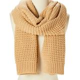 DNMC Women's Cold Weather Scarves Camel - Camel Chunky-Knit Wool-Blend Scarf - Women