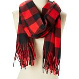 DNMC Women's Accent Scarves Red/Black - Red & Black Buffalo Check Scarf