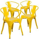 Ivy Bronx Joubert Stacking Patio Dining Chair Metal in Yellow, Size 27.75 H x 21.5 W x 21.5 D in | Wayfair 4-CH-31270-YL-GG