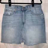 Madewell Skirts | Madewell Frayed Jean Skirt Sz 30 | Color: Blue | Size: 30