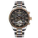 Swiss high-end Roman Digital Automatic Mechanical Watch Waterproof Fashion Business Men's Watch (Black-White)