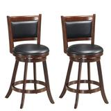 """Costway Set of 2 24"""" Accent Wooden Swivel Bar Stools with High Back and Upholstered Seat-24"""""""