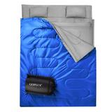 Costway 2 Person Waterproof Sleeping Bag with 2 Pillows-Blue