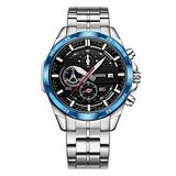 Watch Men's Black Watch Six-pin Multi-Function Watch Calendar Chronograph Waterproof Luminous Steel Strap Quartz Watch (Blue-Black)