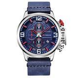 Men's Chronograph Watch Waterproof Calendar Japanese Quartz Men's Leather Watch (Blue)