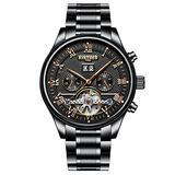 Swiss high-end Roman Digital Automatic Mechanical Watch Waterproof Fashion Business Men's Watch (Black)