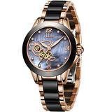 LIGE Women's Watches Fashion Casual Lightweight Analog Quartz Watch for Women Waterproof Ceramic Band Simple Elegant Ladies Watch Luxury Business Date Rose Gold Black Steel Lady Bracelet Wristwatch