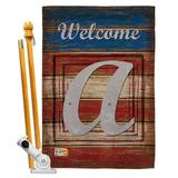 Breeze Decor Patriotic A Initial Americana Impressions 2-Sided Polyester 40 x 28 Flag set Monogram Letter: A in Red/Brown/Gray | Wayfair