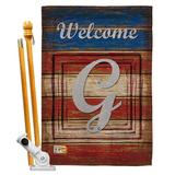 Breeze Decor Patriotic A Initial Americana Impressions 2-Sided Polyester 40 x 28 Flag set Monogram Letter: G in Red/Brown/Gray | Wayfair