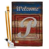 Breeze Decor Patriotic A Initial Americana Impressions 2-Sided Polyester 40 x 28 Flag set Monogram Letter: P in Red/Brown/Gray | Wayfair