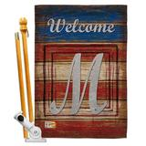 Breeze Decor Patriotic A Initial Americana Impressions 2-Sided Polyester 40 x 28 Flag set Monogram Letter: M in Red/Brown/Gray | Wayfair