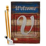 Breeze Decor Patriotic A Initial Americana Impressions 2-Sided Polyester 40 x 28 Flag set Monogram Letter: V in Red/Brown/Gray | Wayfair