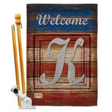 Breeze Decor Patriotic A Initial Americana Impressions 2-Sided Polyester 40 x 28 Flag set Monogram Letter: K in Red/Brown/Gray | Wayfair