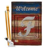 Breeze Decor Patriotic A Initial Americana Impressions 2-Sided Polyester 40 x 28 Flag set Monogram Letter: F in Red/Brown/Gray | Wayfair