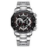 Men's Silver Watch, Luxury Wrist Watches for Man Stainless Steel Classic Business Watch (Black)
