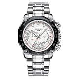 Men's Silver Watch, Luxury Wrist Watches for Man Stainless Steel Classic Business Watch (White)