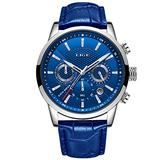 LIGE Watches for Men Male Fashion Luxury Business Analog Quartz Chronograph Watch Man Waterproof Classic Casual Blue Men Wrist Watch with Blue Leather Elegant Gents Dress Calendar Watches