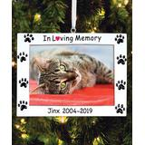 Personalized Planet Ornaments - White 'In Loving Memory' Paw Frame Personalized Ornament