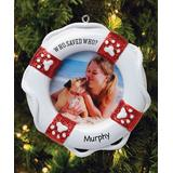 Personalized Planet Ornaments - White 'Who Saved Who' Lifesaver Frame Personalized Ornament