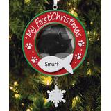 Personalized Planet Ornaments - Red 'My First Christmas' Cat Frame Personalized Ornament