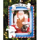 Personalized Planet Ornaments - Blue 'Santa & Me' Frame Personalized Ornament