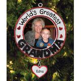 Personalized Planet Ornaments - Red 'World's Greatest Grandma' Frame Personalized Ornament