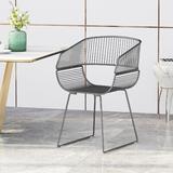 George Oliver Mukai Metal Windsor Back Arm Chair Metal in Gray/Black, Size 32.75 H x 21.0 W x 20.6 D in   Wayfair 2B1F3154A52C4C9C8CDDE3AF2F32388C