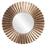 """Delacora HE-53058 Olivia 39"""" Sunburst Style Contemporary Wall Mirror with Scalloped Edge Silver Leaf"""
