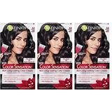 Garnier Color Sensation Hair Color Cream, 2.0 Dark and Stormy (Soft Black) (Pack of 3) (Packaging May Vary)