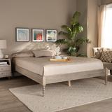 Baxton Studio Cielle French Bohemian Antique White Oak Finished Wood Full Size Platform Bed Frame - Wholesale Interiors MG0012-Antique White-Full