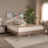 Baxton Studio Cielle French Bohemian Antique Oak Finished Wood Queen Size Platform Bed Frame - Wholesale Interiors MG0012-Antique Oak-Queen