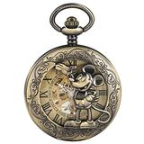 Bronze Mickey Mouse Hollow Out Mechanical Pocket Watch for Boys Premium Alloy Thick Chain Mechanical Pendant Watch for Male Roman Numeral Pocket Watches for Men
