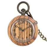 Nice Light Brown Wooden Quartz Pocket Watch for Women Large Dial with Roman Numerals Pocket Watches for Lady Classic Open Face Pendant Watch for Husband