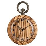 Classic Wooden Pocket Watch for Female Large Light Brown Dial Pocket Watches for Women Practical Detachable Rough Chain Pendant Watch for Lady