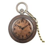 Wonderful Brown Dial Quartz Pocket Watch for Women Clear Arabic Numerals Wooden Pocket Watches for Wife Excellent Open Face Wooden Pendant Watch for Female
