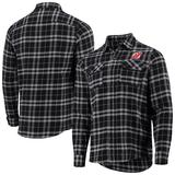 Men's Antigua Black/Gray New Jersey Devils Stance Plaid Button-Up Long Sleeve Shirt
