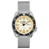 Seiko Men's Stainless Steel Mesh Automatic Watch - SRPD67, Size: Large, Beig/Green