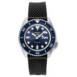Seiko Men's Black Silicone Strap Automatic Watch - SRPD93, Size: Large, Blue