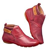 YYFURR Women¡¯s Casual Ankle Boots Vintage Flat Heels Short Booties PU Leather Comfy Archs Support Shoes Red 39