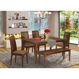 Winston Porter LaKee 6 Piece Solid Wood Dining Set Wood/Upholstered Chairs in Brown, Size 30.0 H x 36.0 W x 60.0 D in | Wayfair