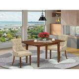 Winston Porter Tosca 3 Piece Extendable Solid Wood Dining Set Wood/Upholstered Chairs in Brown/White, Size 30.0 H in | Wayfair