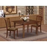 Winston Porter Raritan 3 Piece Extendable Solid Wood Dining Set Wood/Upholstered Chairs in Brown, Size 30.0 H in | Wayfair