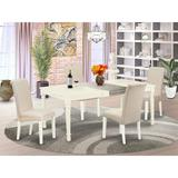 Winston Porter Cayman 5 Piece Extendable Solid Wood Dining Set Wood/Upholstered Chairs in Brown/White, Size 30.0 H in   Wayfair