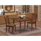 Winston Porter Verdia 3 Piece Extendable Solid Wood Dining Set Wood/Upholstered Chairs in Brown, Size 30.0 H in | Wayfair