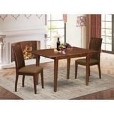 Winston Porter Grahame 3 Piece Extendable Solid Wood Dining Set Wood/Upholstered Chairs in Brown/White, Size 30.0 H in | Wayfair
