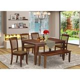 Winston Porter Windon 6 Piece Solid Wood Dining Set Wood/Upholstered Chairs in Brown/White, Size 30.0 H x 36.0 W x 60.0 D in | Wayfair