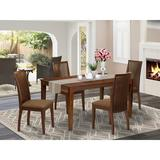 Winston Porter Helmsford 5 Piece Solid Wood Dining Set Wood/Upholstered Chairs in Brown, Size 29.0 H in   Wayfair 0C74BAC908EA47BEA0DB3AAE6C0C98A6
