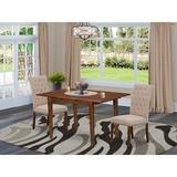 Canora Grey Mclachlan 3 Piece Extendable Solid Wood Dining Set Wood/Upholstered Chairs in Brown/White, Size 30.0 H in | Wayfair